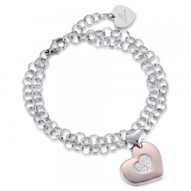 Stainless steel bracelet with rose heart with white crystals BK1900