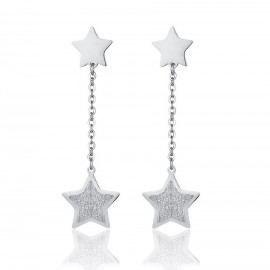 Stainless steel earrings with stars and white glitter OK1054