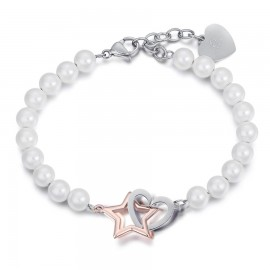 Stainless steel bracelet with white pearls, steel heart and rose star  BK1891
