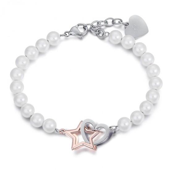 Βραχιόλι από ανοξείδωτο ατσάλι με λευκά μαργαριτάρια, ατσάλι καρδιά και ροζέ αστέρι BK1891