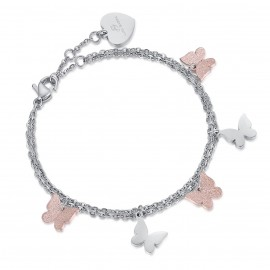 Stainless steel bracelet with butterflies and rose glitter BK1888