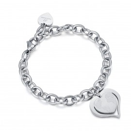 Stainless steel bracelet with world map heart BK1894