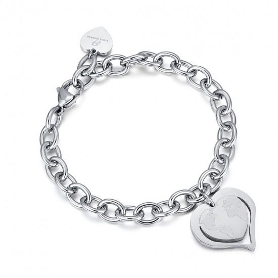 Stainless steel bracelet with world map heart BK1894