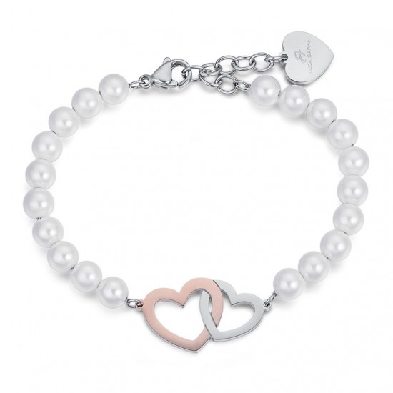 Stainless steel bracelet with white pearls and steel hearts in white and rose color BK1890