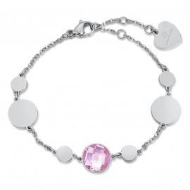 Βραχιόλι από ανοξείδωτο ατσάλι και ροζ πέτρα BK1906