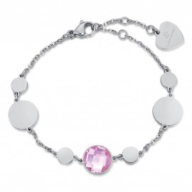 Stainless steel bracelet with rose color stone  BK1906