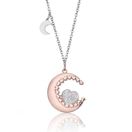 Κολιέ από ανοξείδωτο ατσάλι με ροζέ φεγγάρι και καρδιά με λευκά κρύσταλλα CK1452