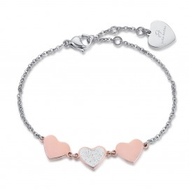 Stainless steel bracelet with rose hearts and glitter BK1896