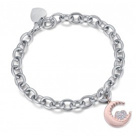Stainless steel bracelet with rose moon and white crystal heart BK1902