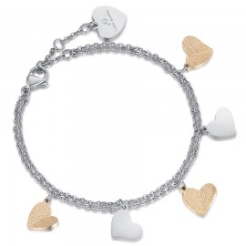 Stainless steel bracelet with white hearts and golden glitter BK1886