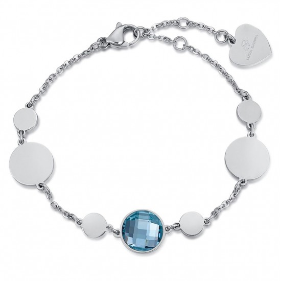 Stainless steel bracelet with round elements and aquamarine colored stone  BK1904
