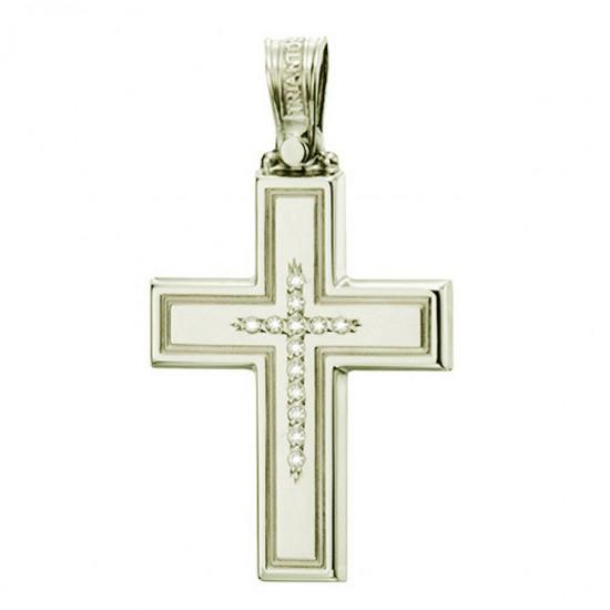 Σταυρός χρυσός Κ14 λουστραριστός και ματ με ζιργκόν στην μέση για βάπτιση  1.2.1246