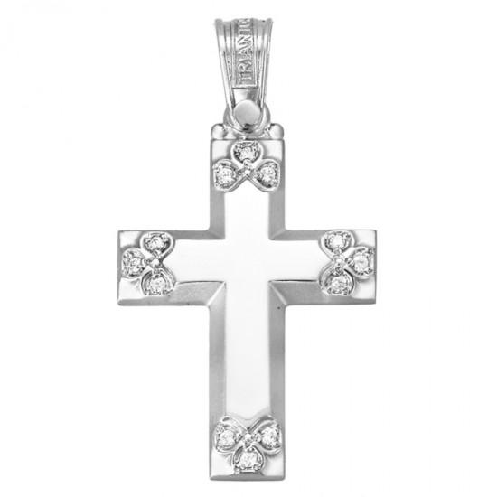 Σταυρός χρυσός Κ14 λουστραριστός και ματ με ζιργκόν για βάπτιση ή για αρραβώνα 1.2.1098