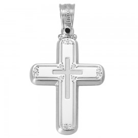 Polished K14 platinum cross and matte with zircon for christening or engagement