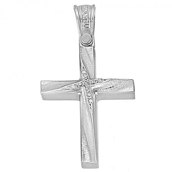 Σταυρός λευκόχρυσος Κ14 λουστραριστός και ματ με ζιργκόν για βάπτιση ή για αρραβώνα 1.2.1213