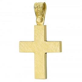 Σταυρός χρυσός Κ14 λουστραριστός στις πλευρές του και τραχισμένος στις δύο όψεις για βάπτιση ή για αρραβώνα 1.2.1224