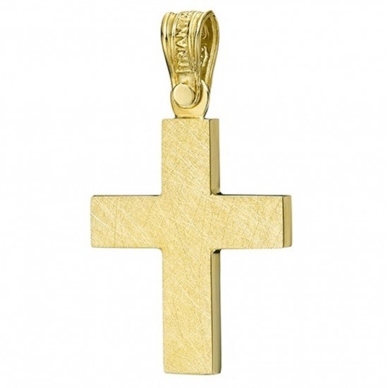 Cross gold K14 polished on its sides and trimmed on both sides for baptism or engagement 1.2.1224