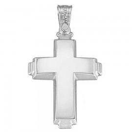 Polished K14 platinum Cross and matte for christening or engagement 1.2.1195