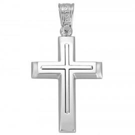 Polished K14 platinum cross and matte for christening or engagement 1.2.1162
