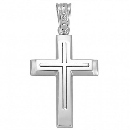 Σταυρός λευκόχρυσος Κ14 λουστραριστός και ματ για βάπτιση ή για αρραβώνα 1.2.1162