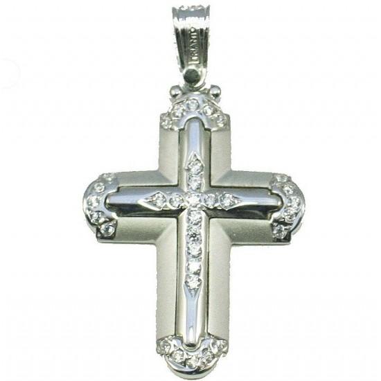 White gold cross K14 with white zircons baptism for girl.