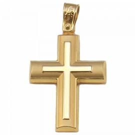 Σταυρός χρυσός Κ14 ματ και λουστραριστός για βάπτιση ή για αρραβώνα