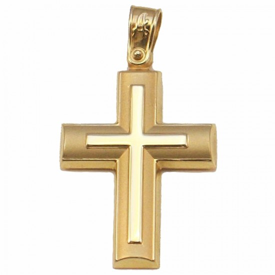Gold Cross K14 matte and lustrous for baptism or engagement