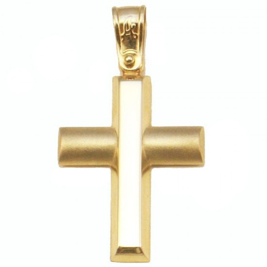 Gold cross K14 matte and polished for baptism or engagement