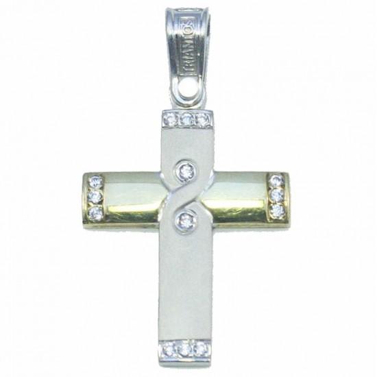 Σταυρός χρυσός Κ14 δίχρωμος ματ και λουστραριστός με λευκά ζιργκόν για βάπτιση η για αρραβώνα
