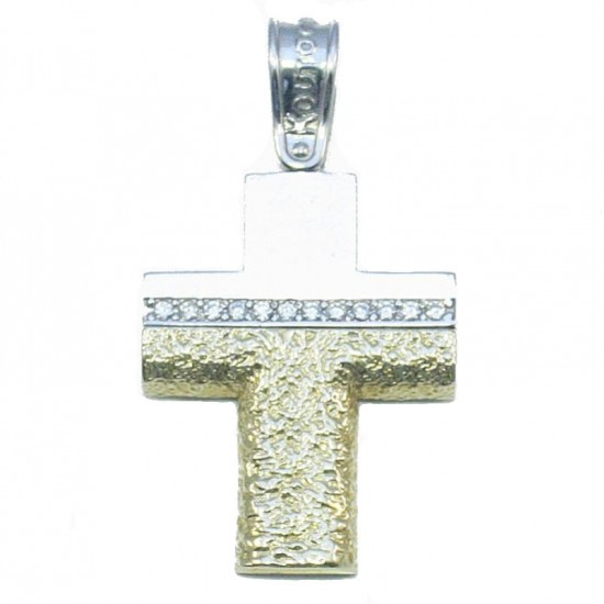 Gold cross K14 twin color with white zircons handcrafted baptism or for engagement