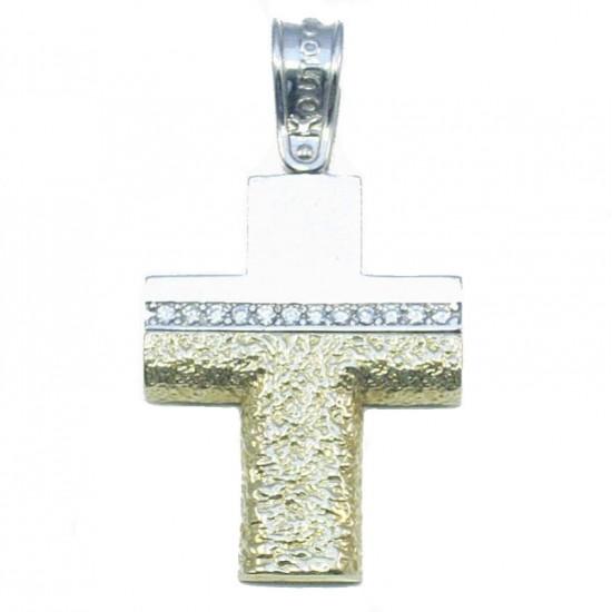 Σταυρός χρυσός Κ14 δίχρωμος με λευκά ζιργκόν σφυρίλατος βαπτιστικός η για αρραβώνα
