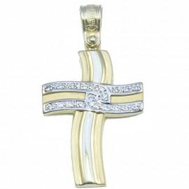Σταυρός χρυσός Κ14 δίχρωμος με ζιργκόν βαπτιστικός η για αρραβώνα για κοριτσάκι