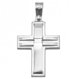 Cross platinum K14 matte and polished for baptism or engagement
