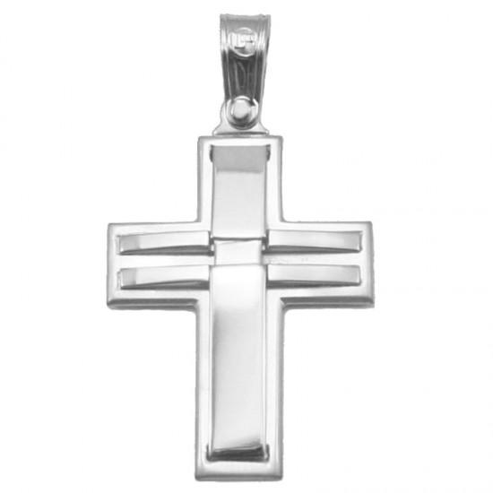 Σταυρός λευκόχρυσος Κ14 ματ και λουστραριστός για βάπτιση ή για αρραβώνα