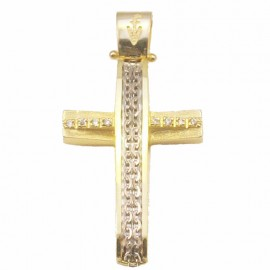 Gold Cross K14 with white gold design satin and white zircons for baptism or for engagement