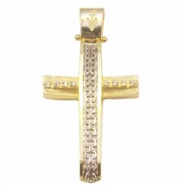 Σταυρός χρυσός Κ14 με σχέδιο σε λευκόχρυσο σατινέ και λευκά ζιργκόν για βάπτιση ή για αρραβώνα