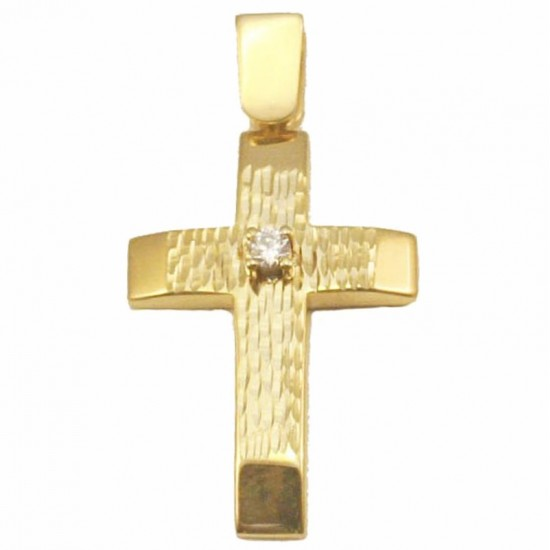 Gold Cross K14 handcrafted and white zircon for baptism or for engagement