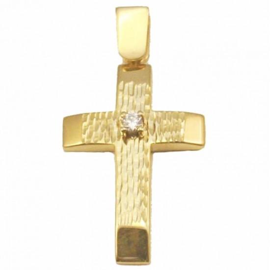 Σταυρός χρυσός Κ14 σφυρίλατος και λευκό ζιρκόν για βάπτιση ή για αρραβώνα