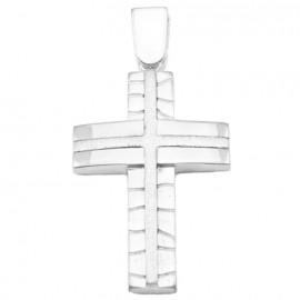 Σταυρός λευκόχρυσος Κ14 με τεχνολογία διαμαντέ στο σχέδιο για βάπτιση ή για αρραβώνα