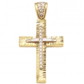 Gold Cross K14 handcrafted with white zircons for baptism or for engagement