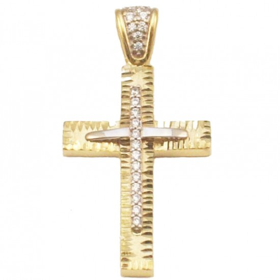 Σταυρός χρυσός Κ14 σφυρίλατος με λευκά ζιργκόν για βάπτιση ή για αρραβώνα