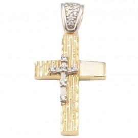 Σταυρός χρυσός και λευκόχρυσος Κ14 με λευκά ζιργκόν σφυρίλατος και λουστραριστός για βάπτιση ή για αρραβώνα