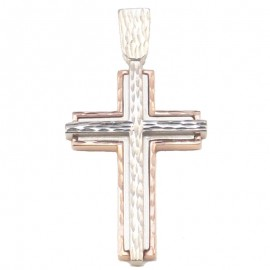 Rose gold Cross and whitegold double color K14 diamond cut tech on drawing for baptism or for engagement
