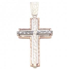 Σταυρός ροζ χρυσός και λευκόχρυσος Κ14 δίχρωμος και τεχνολογία διαμαντέ στο σχέδιο για βάπτιση ή για αρραβώνα