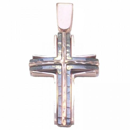 Σταυρός ροζ χρυσός Κ14 με μαύρη πλατίνα και διαμαντέ σχέδιο, για βάπτιση ή για αρραβώνα
