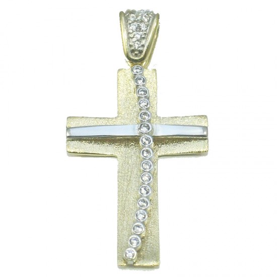 Gold Cross and white gold K14 satin handcrafted with white zircons baptism or for engagement