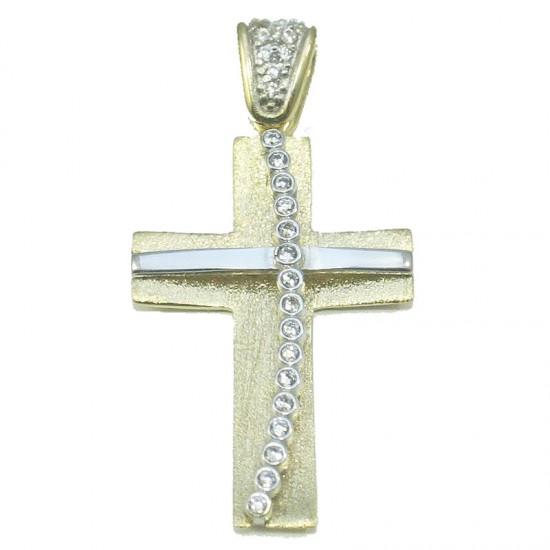 Σταυρός δίχρωμος χρυσός και λευκόχρυσος Κ14 σατινέ σφυρίλατος και λευκά ζιργκόν, για βάπτιση ή για αρραβώνα