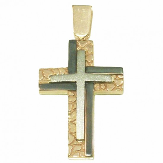 White and rose gold double color Cross handcrafted and black platinum K14 baptism or for engagement