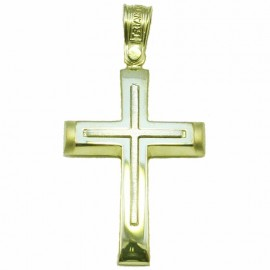Cross K14 two-tone gold and white crumpled for baptism or engagement