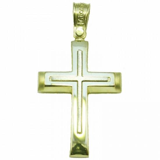 Σταυρός Κ14 δίχρωμος χρυσός και λευκός τραχισμένος για βάπτιση ή για αρραβώνα